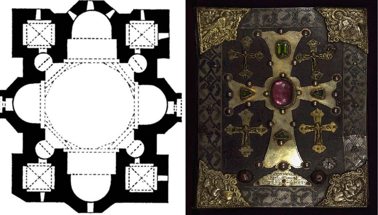План Грузинских церквей в Гаваси VI в., Бана VII в., Джвари VII в. Обложка Евангелия. Армения. 1262 г.